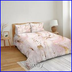 Marble Abstract Gold Pink Glitter Double Single Quilt Duvet Pillow Cover Bed Set