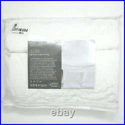 Melange Home Percale Cotton Double Scalloped Embroidered KG Duvet Set, King, Whi