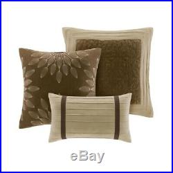 Modern 7pc Taupe & Brown Microsuede Comforter Set AND Decorative Pillows