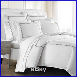 NEW Kassatex Luxury Letto Double Line King Size 3pc Duvet Cover and 2 Sham Set