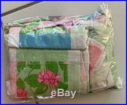 NIP Lilly Pulitzer Full Sheet Set Patchwork Flowers Check Pink Green Blue White