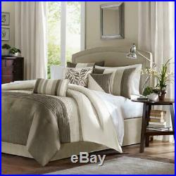 New! Beautiful Chic 7 Pc Elegant Ivory White Taupe Tan Beige Soft Comforter Set