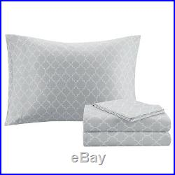 New! Cozy Chic Modern Black Grey White Silver Bed In Bag Comforter Sheet Set