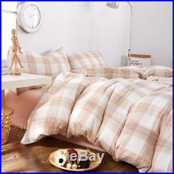 ON SALE Pink Plaid Girls Duvet Cover Set Queen Double Yarn Cotton Luxury