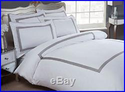 Oceania Hotel Quality Duvet Cover Set 100% Cotton 300 Thread Count White/silver