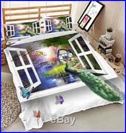Peacock On Window 3D Printing Duvet Quilt Doona Covers Pillow Case Bedding Sets