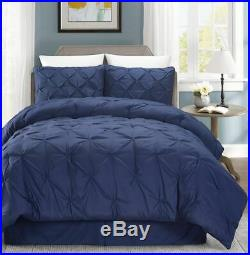 Pinch Pleated Navy Blue Duvet Cover set With Zipper & Corner Ties 100% Cotton