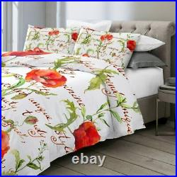 Poppy Floral Summer Handwriting Double Single Quilt Duvet Pillow Cover Bed Set