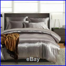 Quality Satin Silk Duvet Cover Sets King Double Single with Pillow Case Grey UK