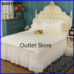 Quilted Cotton Queen King Bed Set Double Layer Ruffle Lace Princess Bedding Set