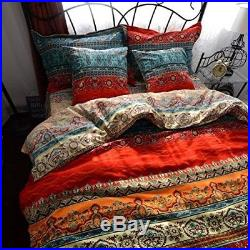 Reversible Bohemian Cotton Quilted Double Size Duvet Cover Set With Pillowcases