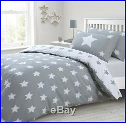 Reversible Cotton Rich Stars Grey Printed Duvet Cover and Pillowcase Bedding Set
