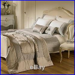 Riva Home Romantica Embellished Satin Cuff Duvet Cover Set Silver Double