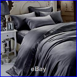 Satin Silk 1000TC Hotel Hot Dark Grey Solid Duvet/Sheet/Fitted All Size Fast P&P