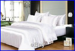 Satin Silk 1000 TC Hotel White Solid Duvet/Sheet/Fitted All Size Expedited P&P