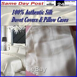 Silk Bed Covers 100% Authentic Luxury Double Duvet & Pillow Cases Hypoallergenic
