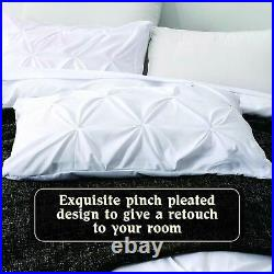Small Double Size 1000 TC Egyptian Cotton Pinch Pleated Duvet Set Solid Color