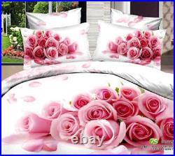 Stack Pink Roses 3D Printing Duvet Quilt Doona Covers Pillow Case Bedding Sets