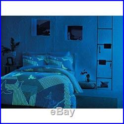 Striped Bedding Duvet Cover Set, Glow In the Dark 100% Cotton Full Double 4Pcs