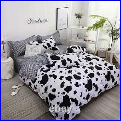 Styho 3-Piece Lovely Cow Print Duvet Cover Set Reversible Soft Quilt Cover with