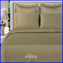 Super 800/1200/1500TC Hotel Taupe Solid Duvet Fitted & Sheet Set 100% Cotton P