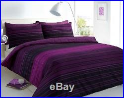 Textured Stripe Duvet Cover Pillowcase Bed Set Single Double King Purple