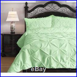 Twin Full Queen Cal King Bed Mint Green Pleat Diamonds 3pc Comforter Set Bedding
