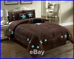 Twin Full Queen Cal King Brown Blue Black Cowboy Star Western 7 pc Comforter Set