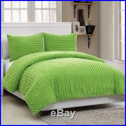 Twin Full Size Bed Solid Green Faux Fur Soft Plush 3 pc Comforter Set Bedding