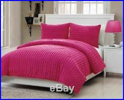 Twin Full Size Bed Solid Hot Pink Faux Fur Soft Plush 3 pc Comforter Set Bedding