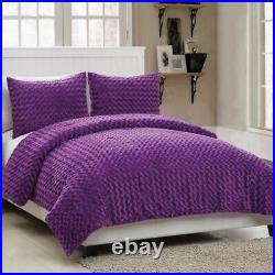 Twin Full Size Bed Solid Purple Faux Fur Soft Plush 3 pc Comforter Set Bedding
