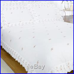 Vintage White Floral Embroidery Double Duvet Cover Pillowcase Set Bedding