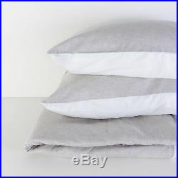 Washed European Flax Linen Blend Duvet Cover Set Grey and White Soft Fabric