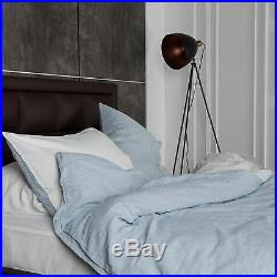 Washed European Flax Linen Blend Duvet Cover Set Turquoise Striped and White