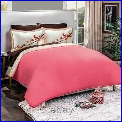 White and Pink Blossom Reversible Cotton Comforter Set Full Size 3PCS