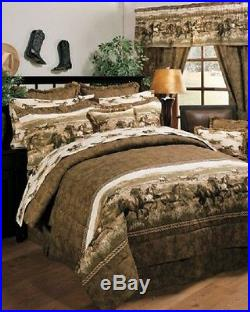 Wild Horses Western 4 Pc FULL SIZE Comforter Bedding Set Ranch Lodge Cabin