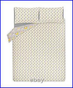 Yellow Grey Floral Reversible Double Bed Duvet Set + 2 Pillow Covers Bedding Set