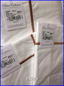 Yves Delorme Athena Blanc Caramel 500tc Double Duvet Cover Set Palace Collection