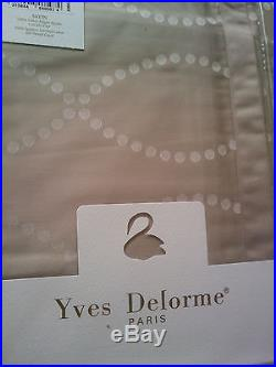 Yves Delorme POINTS CAFE CREME SATIN Duvet Cover Set DOUBLE